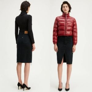 Levi's Deconstructed Midi Skirt Black Mark sz 25